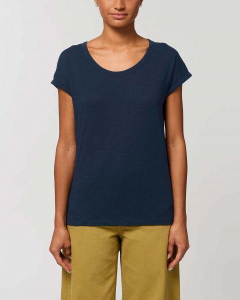 Slub Optik   Damen T-Shirt mit gerollten Ärmeln