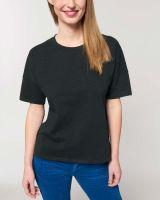 Kurzes Damen T-Shirt mit Slub Optik, schwere Bio Baumwolle