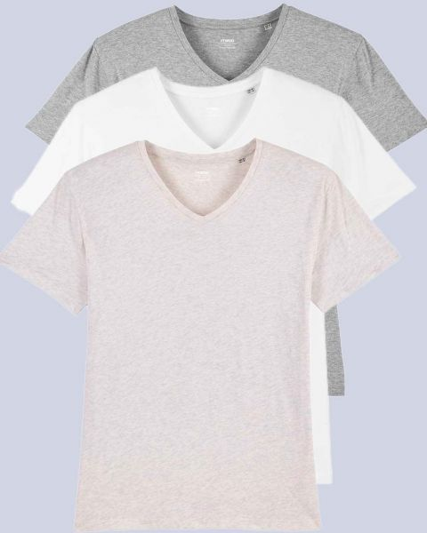 Günstiger mit 3er Pack Bio-Shirts mit V-Ausschnitt