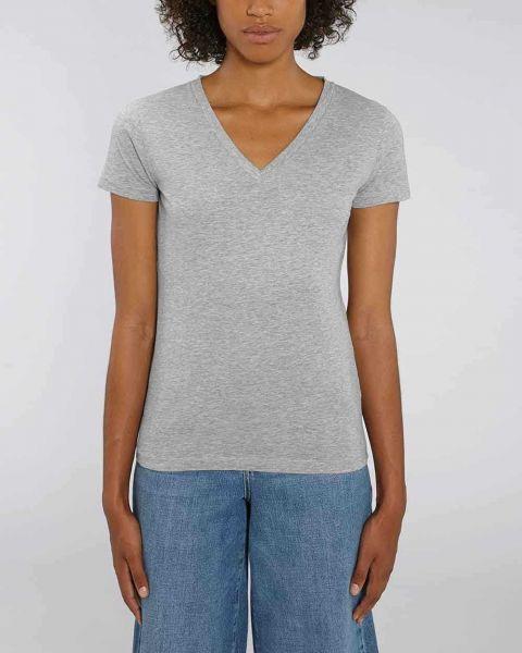 Emilie | Basic T-Shirt mit tiefem V-Ausschnitt, leicht meliert