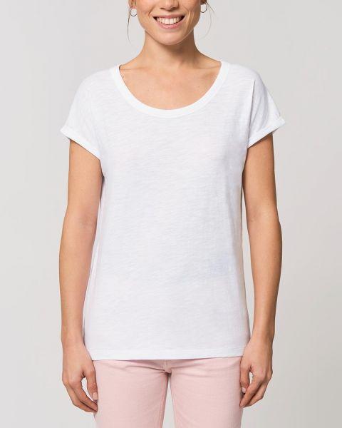 Slub Optik | Damen T-Shirt mit gerollten Ärmeln